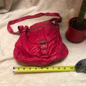 Hot pink multi pocket messenger buckle purse
